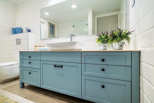 ארון אמבטיה בצביעה בתנור- גוון תכלת