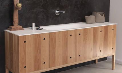 ארון אמבטיה בשילוב דלתות - דלת שכבתי אלון