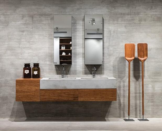 ארון אמבטיה בשילוב עץ ואבן