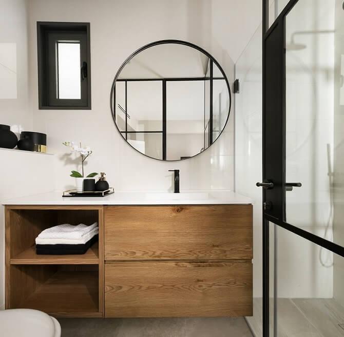ארון אמבטיה קלאסי במראה טבעי