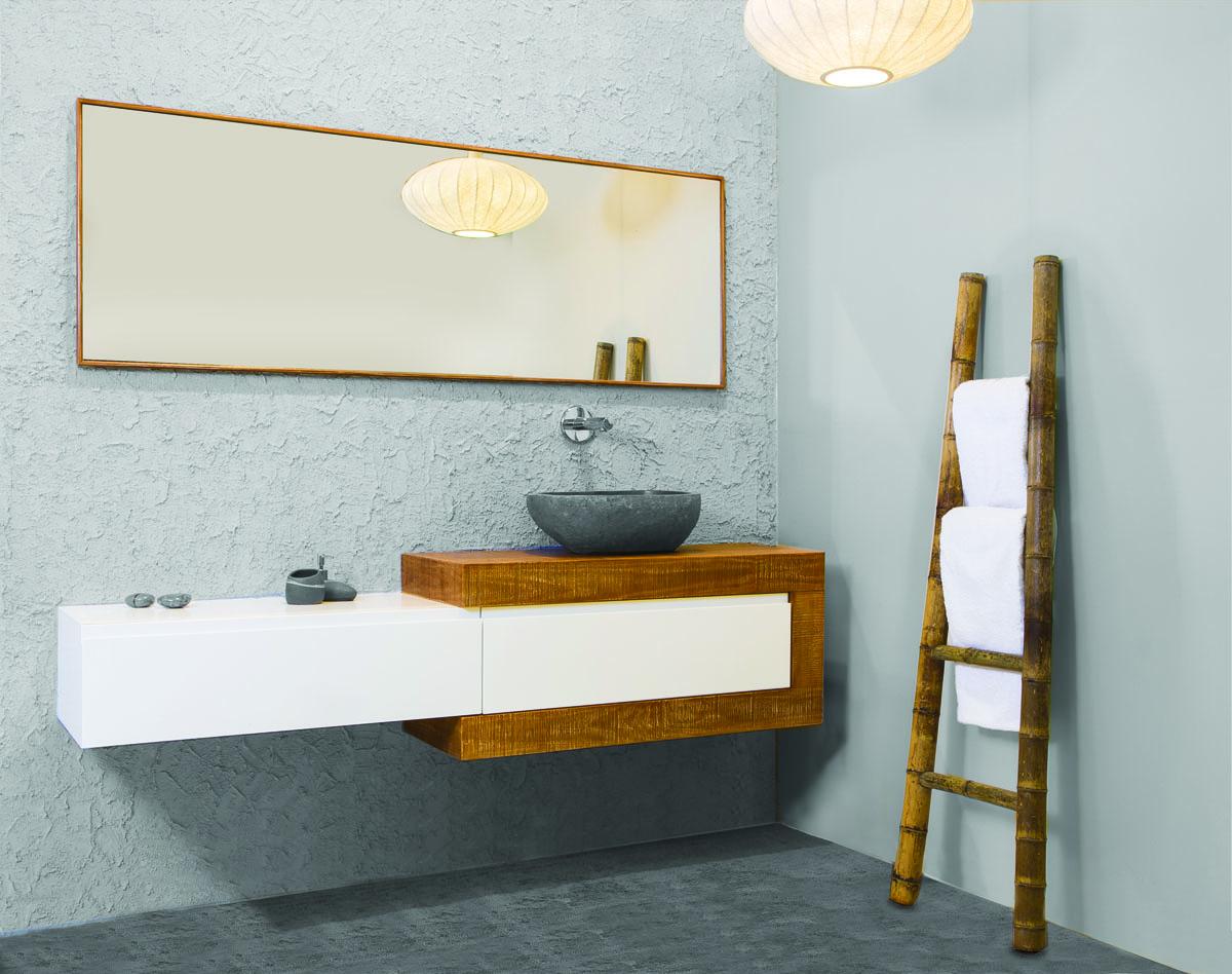 ארון אמבטיה עץ טבעי מעובד