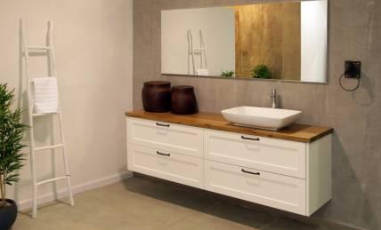 ארון אמבטיה בשילוב לבן וחום